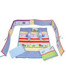 M&M Infant Baby Bedding Set Car Print Multicolor - Set Of 7