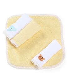 Babyoye Terry Wash Cloth Pack Of 4 - Yellow