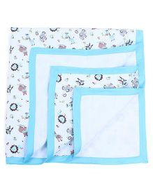 My Milestones Muslin Blanket 3 Layered - Blue