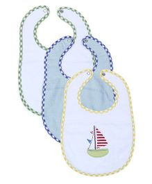 Babyoye Embroidered Bib Pack Of 3 - Multicolor