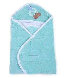 Babyoye Velore Hooded Wrapper - Aqua Blue