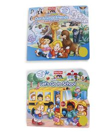 Fisher Price Our Animal Friends & Lets Go To School Board Books Pack Of 2 - English