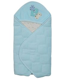 Babyoye Velore Hooded Wrapper - Light Blue