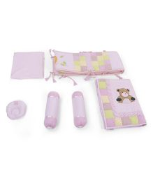 Babyoye 6 Piece Bedding Set Animal Embroidery - Pink