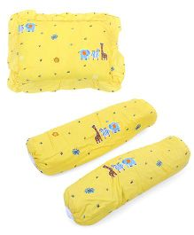 Babyoye 2 Bolsters And 1 Pillow Set Animal Print - Yellow