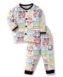 Child World Full Sleeves Night Suit Cars Print - Navy