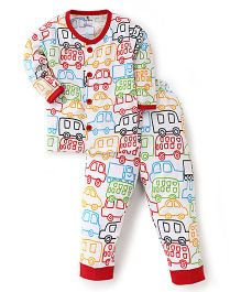 Child World Full Sleeves Night Suit Cars Print - White Red