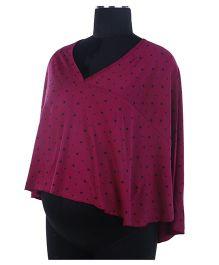 Kriti Comfort Full Sleeves Poncho Star Print - Dark Pink