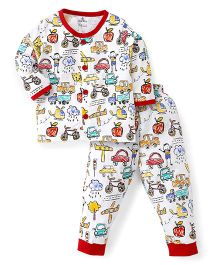 Child World Full Sleeves Night Suit - Red