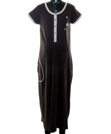 Kriti Comfort Knit Nighty With Star - Black