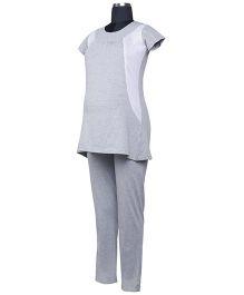 Kriti Short Sleeves Maternity Top And Pajama - Grey
