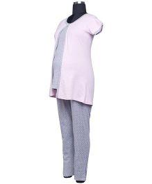 Kriti Short Sleeves Maternity Top And Pajama - Grey Pink