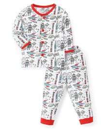 Child World Full Sleeves Night Suit Rocket Print - Red
