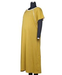 Kriti Comfort Knit Nighty With Embroidery - Yellow