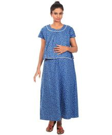 Kriti Comfort Woven Maternity Gown - Blue