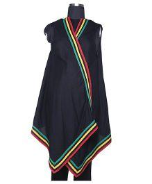 Kriti Comfort Sleeveless Shrug With Back Embroidery - Black