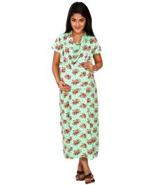 Kriti Comfort Knit Cowl Neck Hospital Gown - Green