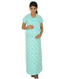 Kriti Comfort Knit Maternity Gown - Aqua Blue