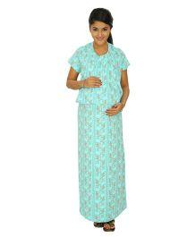Kriti Comfort Knit Nursing Nighty - Aqua Blue