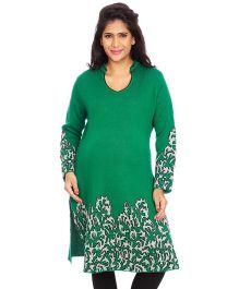 Kriti Ethnic Maternity Kurta With Embroidery Hem - Green