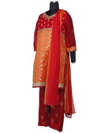 Kriti Ethnic Maternity Kurta Palazzo And Dupatta Set - Rust Brown