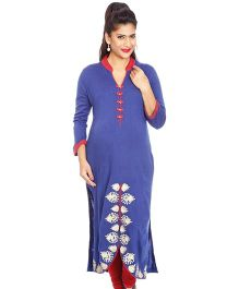Kriti Ethnic Maternity Kurta With Embroidery At Slit - Blue