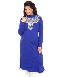 Kriti Ethnic Maternity Kurta With Polo Neck - Blue