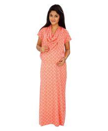 Kriti Comfort Knit Cowl Neck Hospital Gown - Peach