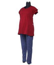 Kriti Half Sleeves T-Shirt And Pajama Night Wear Set - Maroon