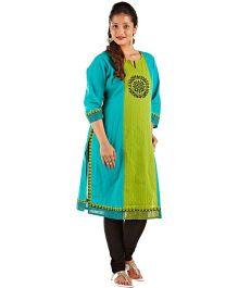Kriti Ethnic Maternity Nursing Kurta With Katha Work - Turquoise & Green