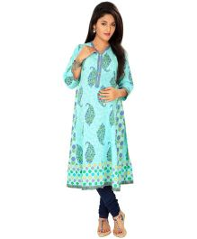Kriti Ethnic Maternity Kurta With Zipper  - Aqua Blue