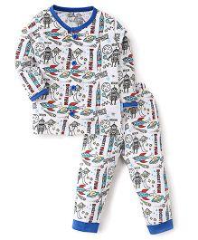 Child World Full Sleeves Night Suit Rocket Print - White Blue