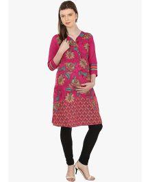 Kriti Ethnic Maternity Kurta With Floral Print - Dark Pink
