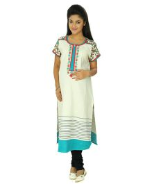 Kriti Ethnic Maternity Kurta With V Neck - White