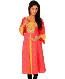 Kriti Ethnic Maternity Kurta With All Over Print  - Coral