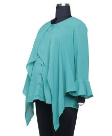 Kriti Western Maternity Full Sleeves Blouse With Ruffle - Teal