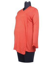 Kriti Western Maternity Full Sleeves Shrug - Rust Red