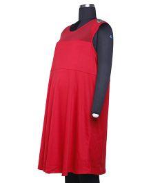 Kriti Western Maternity Sleeveless Knitted Dress - Red