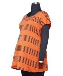 Kriti Western Maternity Short Sleeves T-Shirt - Orange