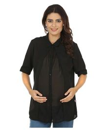 Kriti Western Maternity Woven Top - Black