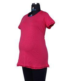 Kriti Half Sleeves T-Shirt With Sash At Waist - Wine