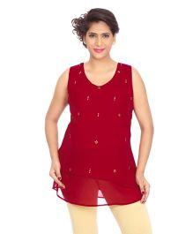 Kriti Western Maternity Woven Sleeveless Top - Maroon