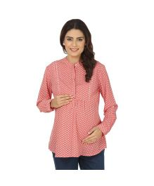 Kriti Western Maternity Woven Top - Coral Pink