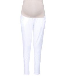 Kriti Ethnic Maternity Full Length Solid Colour Leggings - White