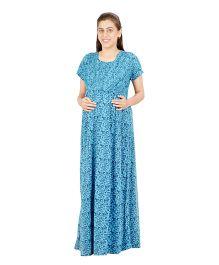 Uzazi Short Sleeves Nursing Nighty - Blue
