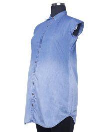 Kriti Western Maternity Sleeveless Woven Top - Light Blue