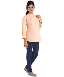 Kriti Western Maternity Woven Top - Peach
