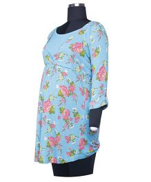 Kriti Full Sleeves Maternity Tunic Floral Print - Blue