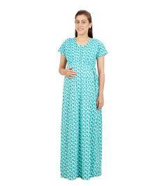 Uzazi Short Sleeves Nursing Nighty - Green