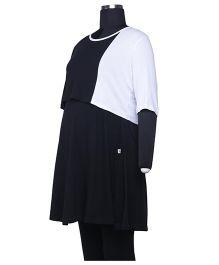 Kriti Half Sleeves Maternity Tunic - Black White